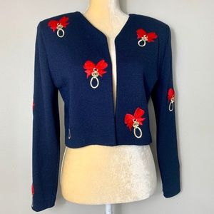St. John By Marie Gray Festive Navy Cardigan 8